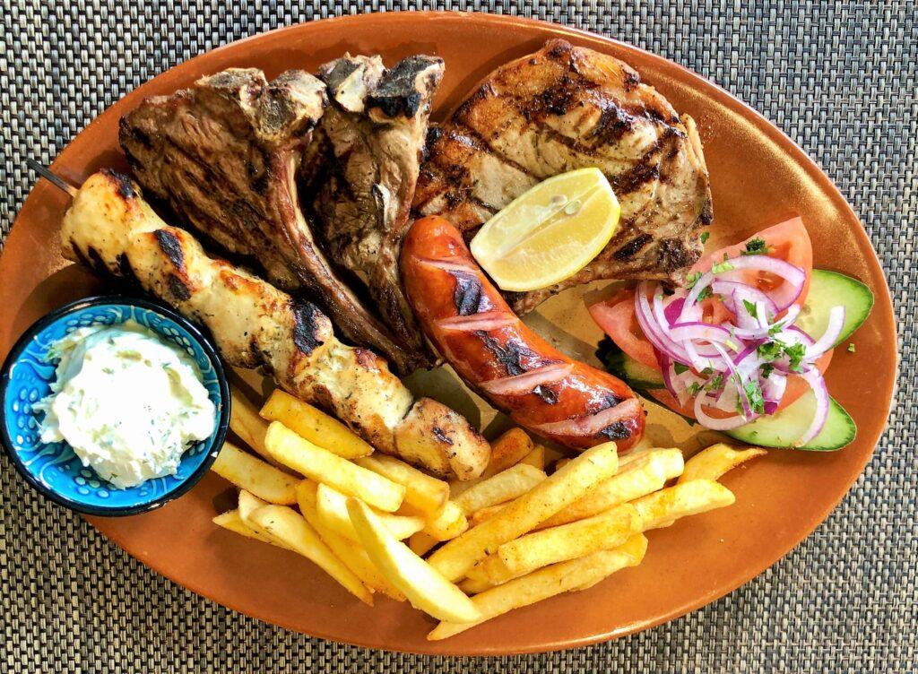 Greek food mixed grill Anchor Pub Tilsworth