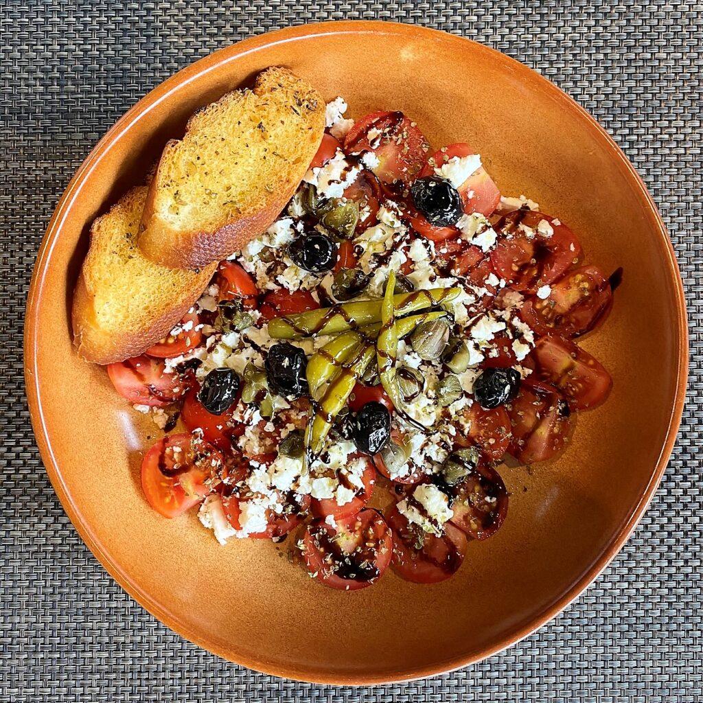 Greek food Santorinia salad Anchor Pub Tilsworth