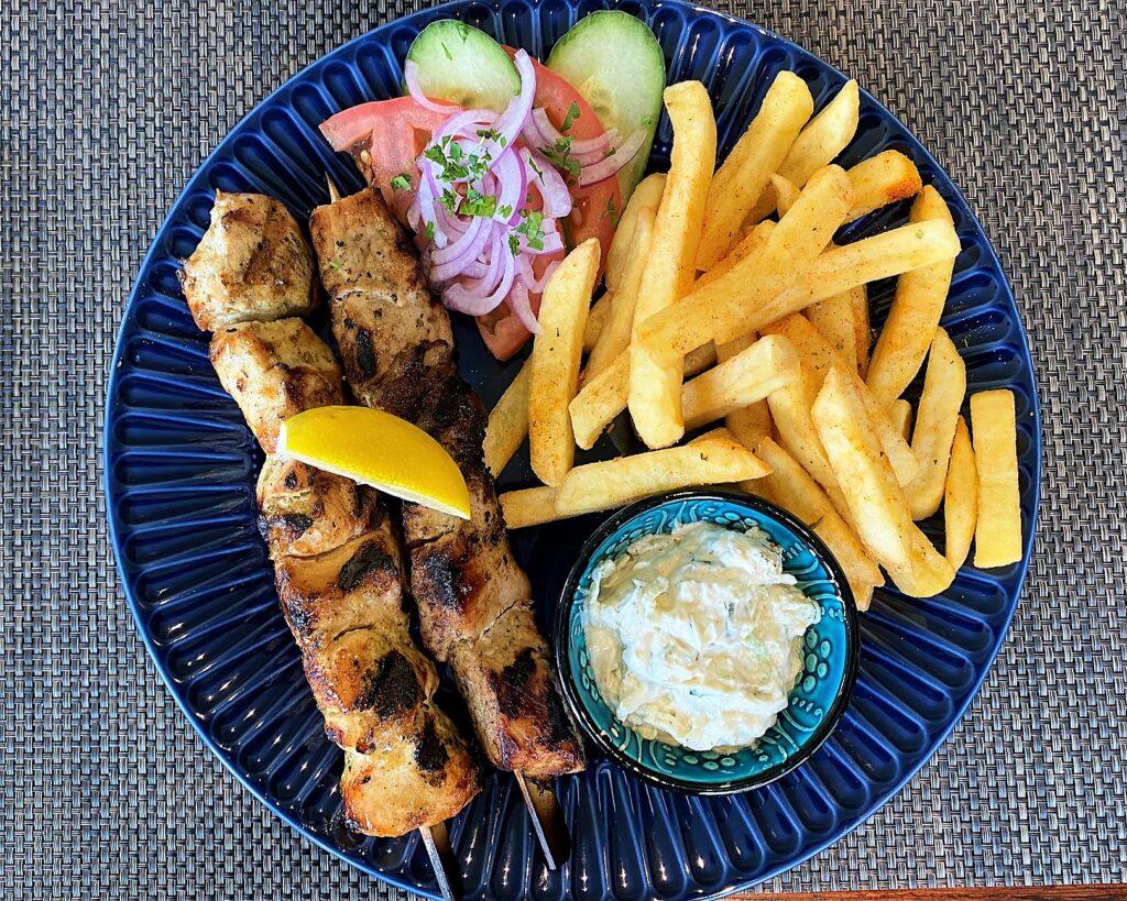 chicken souvlaki Greek food chicken kebabs Anchor Pub Tilsworth
